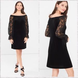 WHBM Velvet Lace Sleeve Off Shoulder Shift Dress